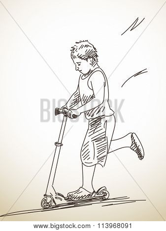Sketch of child riding kick scooter, Hand drawn illustration