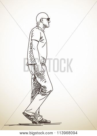 Sketch of walking man Hand drawn illustration
