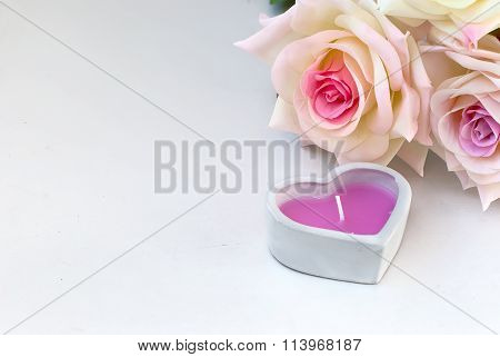 Candle Heart And Roses Creamr Background