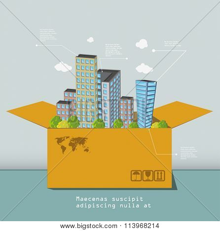 Infographic Business concept.  box with city town earth globe success concept