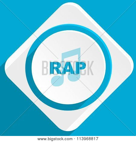 rap music blue flat design modern icon for web and mobile app
