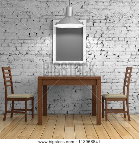 Interior room with table and chairs on brick wall background. 3d rendering.