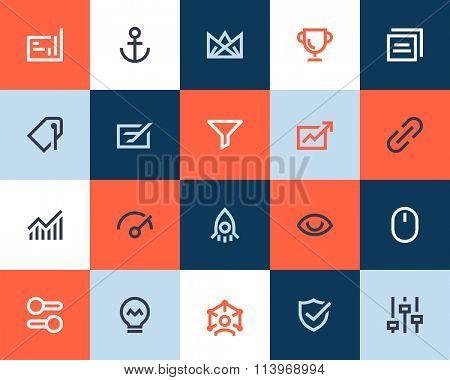Search engine optimization icons. Flat style