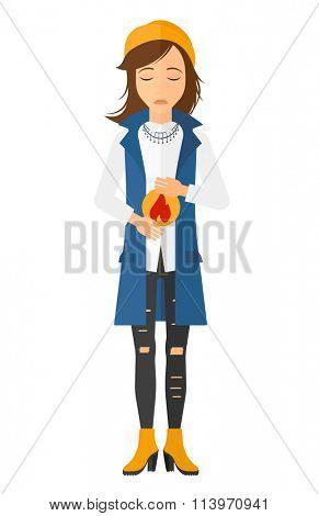 Woman suffering from heartburn.