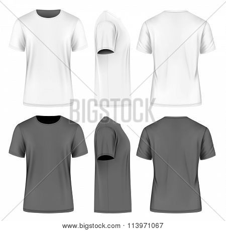 Men's short sleeve t-shirt (front, side and back views). Vector illustration. Fully editable handmade mesh. Black and white variants.