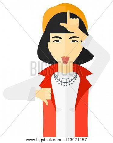 Contemptuous woman sticking out her tongue.