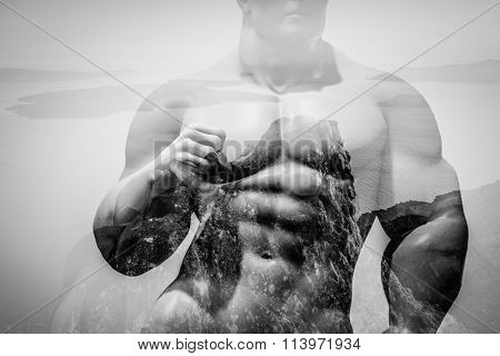 Double exposure of strong map on rocks and ocean landscape. Natural strenght, health and power concept