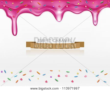 vector caramel (glaze)  with sprinkles (element for design)
