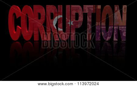 Corruption text with Turkish flag and currency illustration