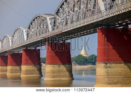 the bridge across Irrawadee river and the old pagodas in Sagaing Area