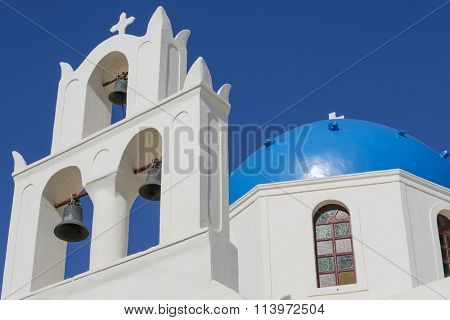 White buildings with clear blue sky and sea at Santorini, Greece