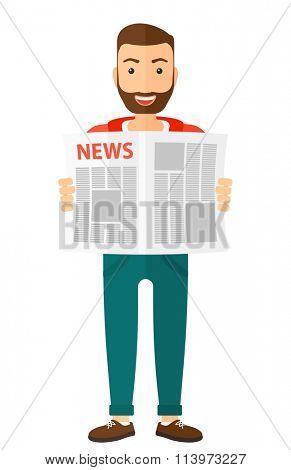 Reporter reading newspaper.