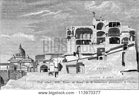 Castel Sant Angelo, vintage engraved illustration. Magasin Pittoresque 1867.