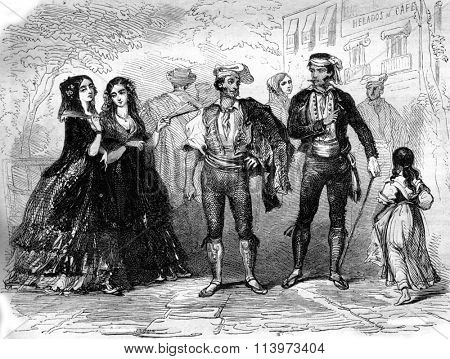Costumes Catalans, vintage engraved illustration. Magasin Pittoresque 1857.