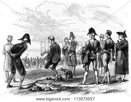 The Ball Players by Carle Vernet, vintage engraved illustration. Magasin Pittoresque 1867.