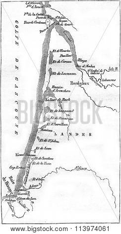 Map of sides of the Bay of Biscay. Dussieux card, vintage engraved illustration. Magasin Pittoresque 1857.