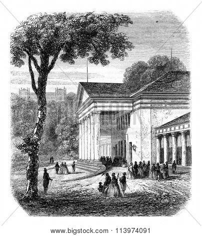 Kurhaus Wiesbaden, vintage engraved illustration. Magasin Pittoresque 1857.