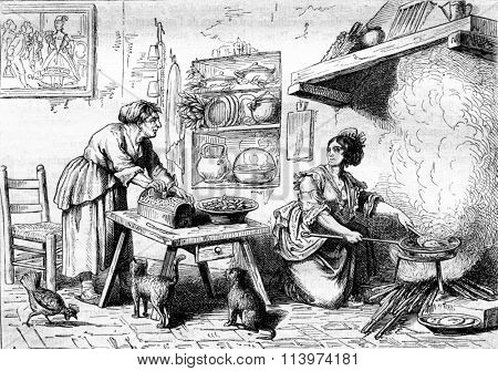 A meal in the alcove Nuccia, vintage engraved illustration. Magasin Pittoresque 1857.