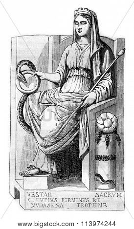 Vesta, goddess of the Bakers, vintage engraved illustration. Magasin Pittoresque 1857.