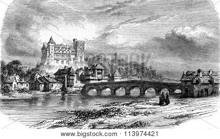 Chateau de Pau, vintage engraved illustration. Magasin Pittoresque 1857.