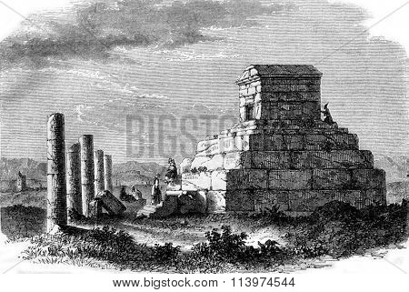 The Tomb of Cyrus in Persia, vintage engraved illustration. Magasin Pittoresque 1853.