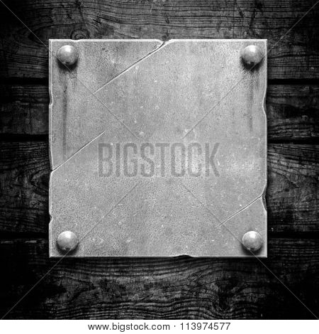 Plaque or sign consisting of a silver plate on wood