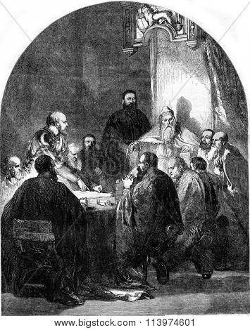 Carlo Zeno is exculpatory to the Council of Ten, vintage engraved illustration. Magasin Pittoresque 1857.