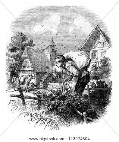 Master block carrier bag, vintage engraved illustration. Magasin Pittoresque 1853.