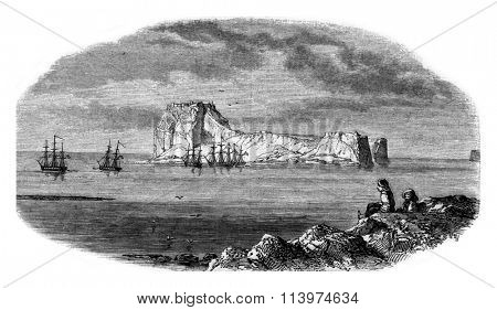 View of rock Carabousa taken of the extremity of Cape Bousa during an expedition against the pirates of the archipelago, vintage engraved illustration. Magasin Pittoresque 1853.