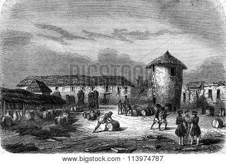 Ruins of Fort Oueida, Slave side, vintage engraved illustration. Magasin Pittoresque 1847.