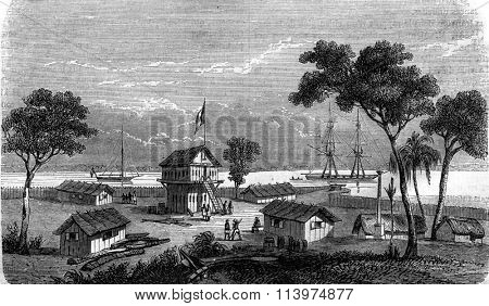 Post of Gabon, Gabon side, vintage engraved illustration. Magasin Pittoresque 1847.