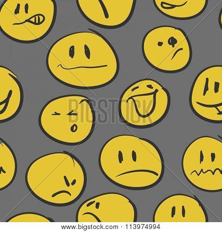 Seamless background with emoticons. Vector illustration.