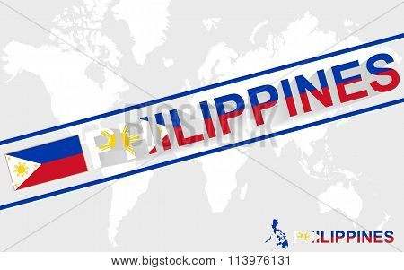 Philippines Map Flag And Text Illustration