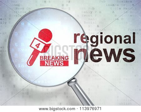 News concept: Breaking News And Microphone and Regional News with optical glass