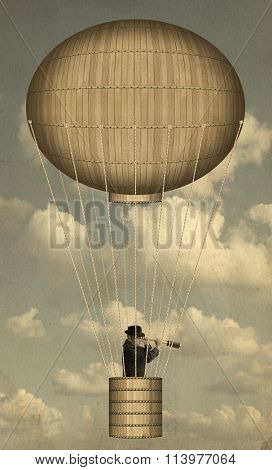 Hot air balloon high in the sky. Steampunk style
