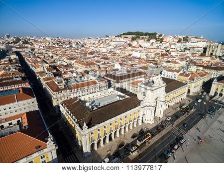 Top View of Augusta Arch in Lisbon, Portugal