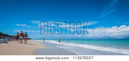 People on the beach in Varadero, Cuba.