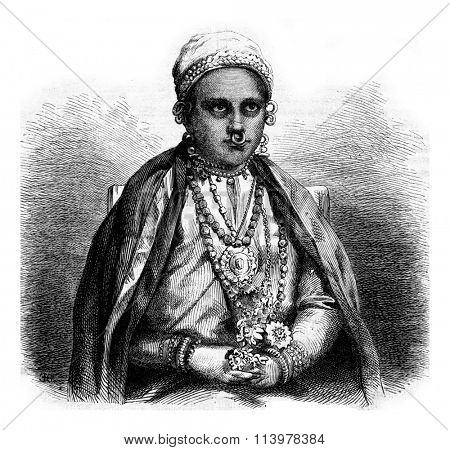 Aziza, niece of the governor of Zanzibar, vintage engraved illustration. Magasin Pittoresque 1873.