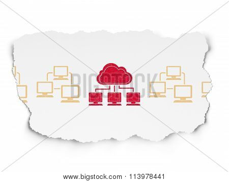 Cloud technology concept: cloud network icon on Torn Paper background