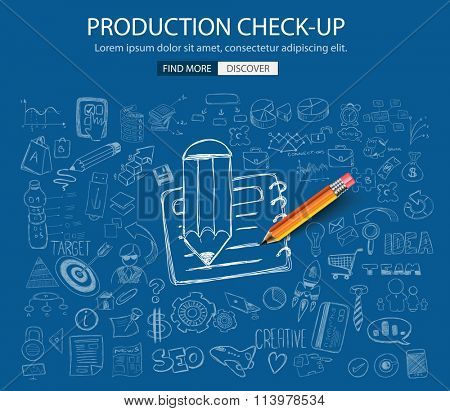 Production Check Up concept with Doodle design style :physical check, parts testing .Modern style illustration for web banners, brochure and flyers.