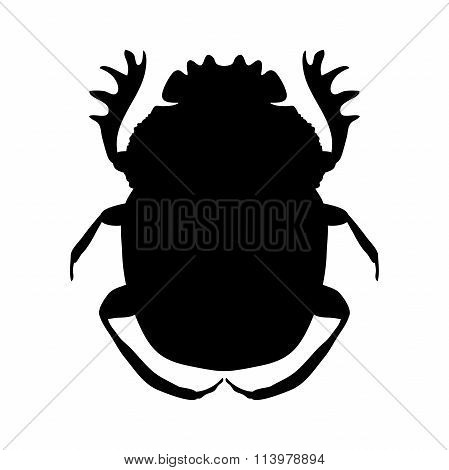 silhouette scarab. silhouette Geotrupidae dor-beetle .silhouette dor-beetle scarab isolated on white