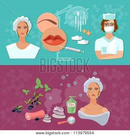 Women Beauty Banners Skin Care Plastic Surgery