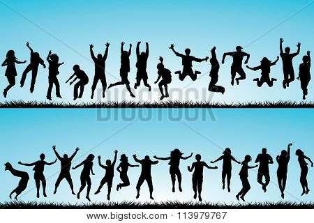 Set Of People Jumping Outdoor
