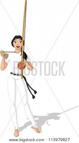 Brazilian Woman Playing Capoeira Music Instrument