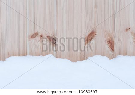 Snow Over Wooden Wall