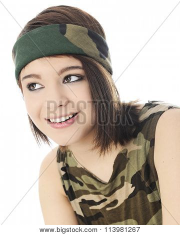 Portrait of a beautiful teen happily looking up in her camouflage headband and sleeveless shirt.  On a white background.