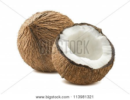 Coconut Whole Cut Half Composition Isolated White Background