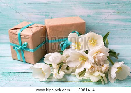 Background With Colorful Narcissus Flowers And Boxes  With Presents
