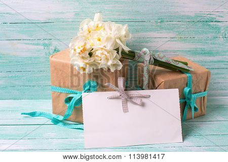 Narcissus Flowers , Empty Tag For Text , Boxes With Present