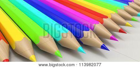 Color pencils in a row